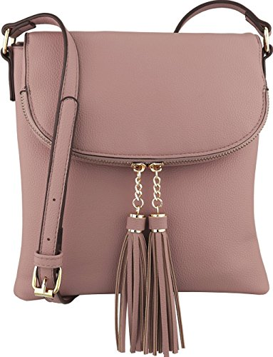 B BRENTANO Vegan Medium Flap-Over Crossbody Handbag with Tassel Accents (Blush) (Womens Blush)