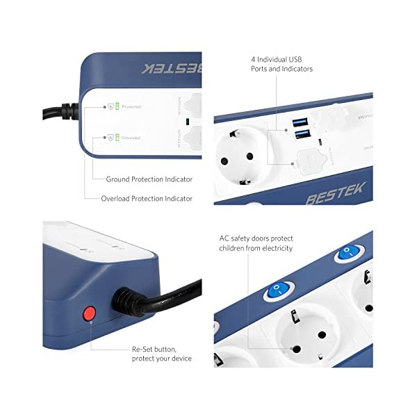 BESTEK Multipresa Filtrata Ciabatta Elettrica da Muro a 6 Prese Schuko e 4 USB Rapida, Anti Sovratensioni SPD con… 2 spesavip