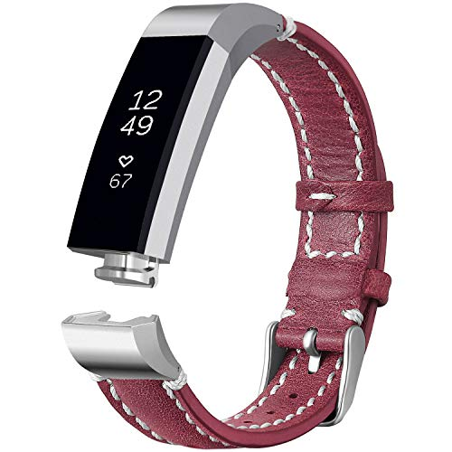 iHillon Compatible with Fitbit Alta (HR)/ Fitbit Ace Bands, Classic Soft Genuine Leather Strap Compatible with Fitbit Alta/Alta Hr/Fitbit Ace Women Men Wristband, Red