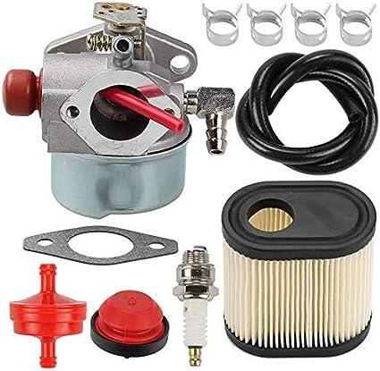 Timagebreze 640350 Carburador Filtro de Aire BujíA Juego de LíNea de Combustible para Accesorios de CortacéSped Tecumseh LEV100 / 105 LEV120 Cortadoras de CéSped