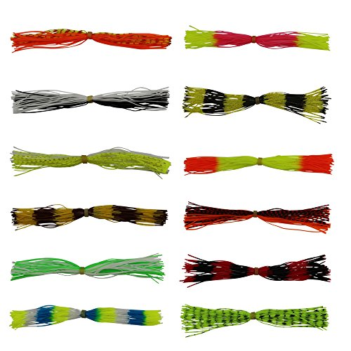- 12pcs Fishing Skirt Lures Spinnerbaits Jig Head Lures Replacement Mixed Colors 50 Strands (12pcs skirt lures)