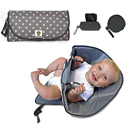 SnoofyBee Portable Clean Hands Changing Pad Bundle Set Changing Station with Redirection Barrier for use with Infants Babies Toddlers with Baggy Dispenser and Pacifier pod (Grey with Pink dots)