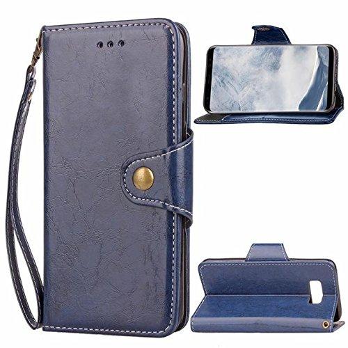 Retro del estilo del botón de cierre de la PU billetera de cuero caja del teléfono con correa de cuello para Samsung Galaxy S8 dark blue for galaxy s8