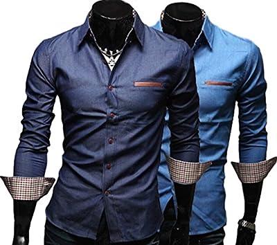 Moon Market Men's Plaid Patchwork Button Down Long Sleeve Slim Shirt Casual Work Denim Dress Shirt Fashion Top