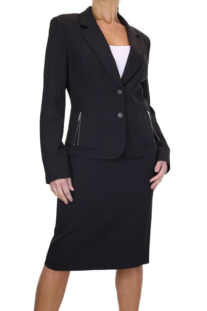 ICE Womens Skirt Suit Business Office Tailored Blazer Jacket 12-24