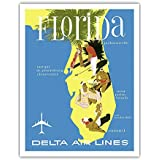 Florida - Golf - Scuba Diving - Sunbathing - Delta Air Lines - Vintage Airline Travel Poster Unknown - Fine Art Print - 11in x 14in