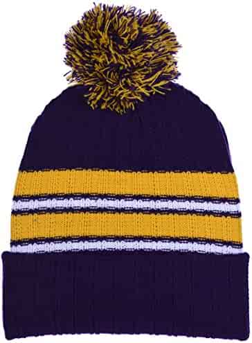f35e4c78 Polar Wear Boy's Cuffed Knit Hat with Pom and Stripes in 6 Color  Combinations