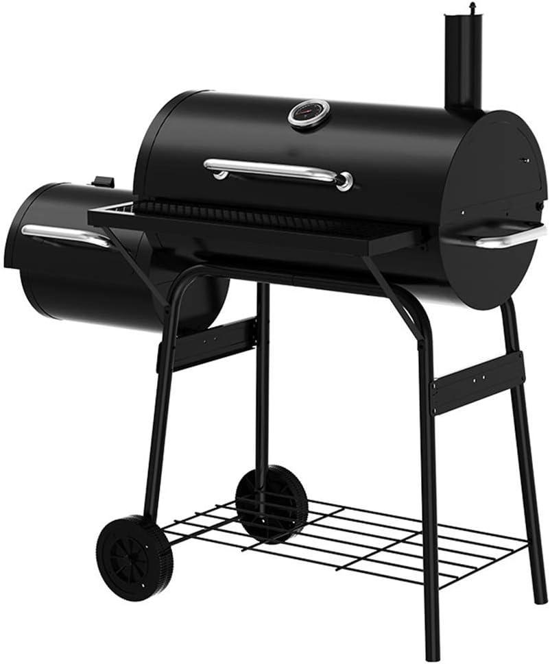 SLRMKK Royal Gourmet Charcoal Grill y Offset Smoker, Acero Inoxidable La cámara de cocción está diseñada con una Bandeja de carbón Ajustable, para una Mejor calefacción
