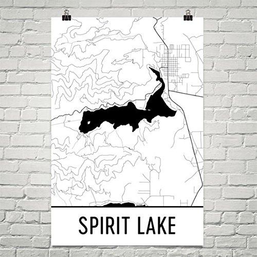 Carte Moderne Art Spirit Lake Idaho - Spirit Lake Id, Geist Id, Idaho Lakes Modern Map Art