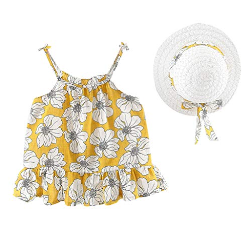 Girl Dress,Freesa O-Neck (12M-3Y) Children'S Sleeveless Sling Flower Frilled Dress Princess Dress + Straw Hat Toddler Baby Girls Floral Ruched Strap Princess Dress Casual Clothes
