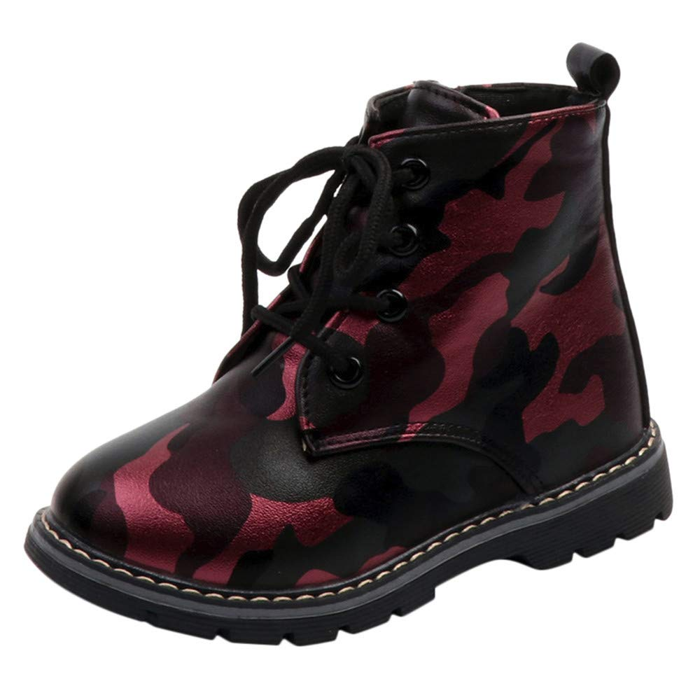 ELECTRI Bottes pour Enfants Fille d équitation, Enfants Garçons Martin Sneaker Solid Boots Enfants Snow Baby Casual Camouflage Chaussures