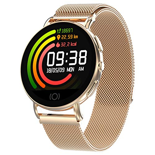 XIEXIE Smart Watch Unisex Fashion IP67 Waterproof Wrist Watches Sleep Tracker Call Reminder Alarm Clock Multifunction Watches with Stainless Steel Strap,Gold