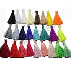 25pcs 4.5cm Silky Road Tassels with Gold Jump rings DIY Jewelry Accessory GD25ST24