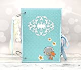 Kristabella Creations 8x11 Baby Scrapbook Album, Baby Memory Book, Baby Shower Gift, 20 interactive inner pages