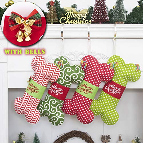 GEX Dog Bone Christmas Stockings for Doggie Cotton Pet Stockings with Bells Christmas Ornaments Holidays Decoration Gift-16 inches x 8 inches 4# Green Polka Dot (1 Pack)