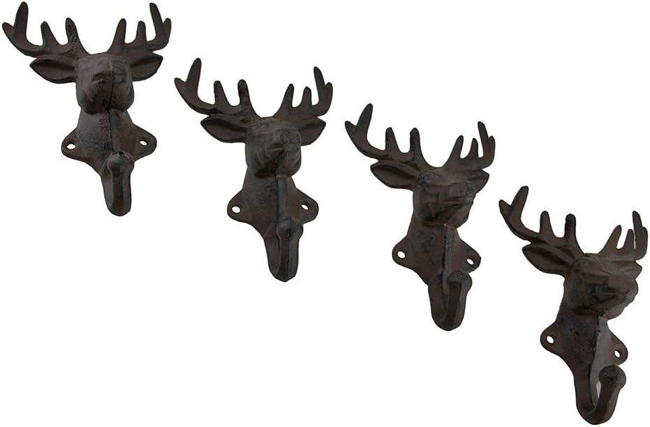 Black Iron Stag Head Wall Hooks