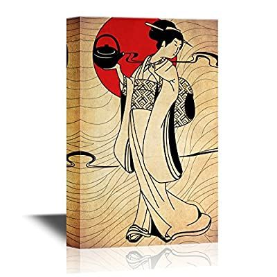 Japanese Culture Canvas Wall Art - Traditional Japanese Woman Dress in Kimono with Teapot - Gallery Wrap Modern Home Art | Ready to Hang - 12x18 inches