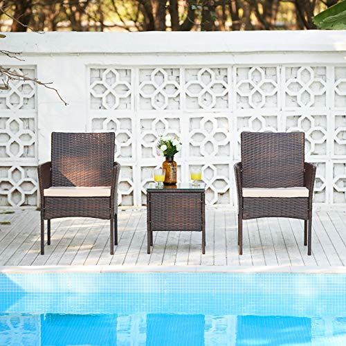 VONLUCE 3 Piece Outdoor Bistro Set with Side Glass Top Table