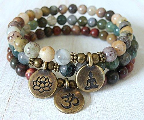 Picasso Bead Bracelet (Yoga stack, Yoga bracelets, Moss agate, picasso Jasper, bracelet set, Reiki Charged, stacking malas, Meditation om, lotus, buddha)