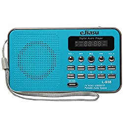 eJiasu Mini Digital Portable FM Radio Support MP3 Music Player TF/SD Card/USB Port/LED Screen Display/Flashlight/Rechargeable Battery/Headphone Output/Audio Input for PC iPod iPhone(blue)