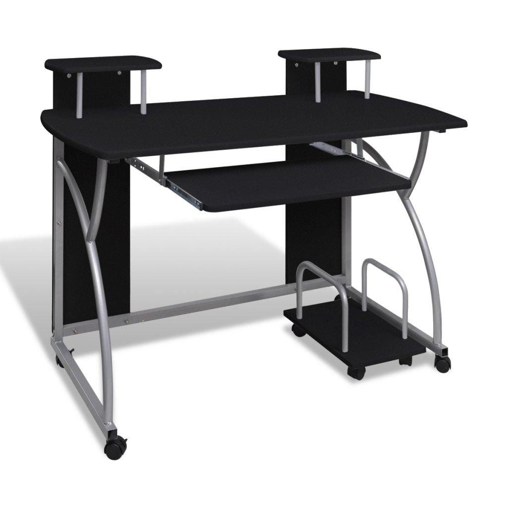 vidaXL Tavolo scrivania per computer mobile cassetto estraibile finitura bianca