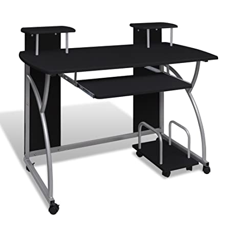 anself mobile office computer desk with storage shelves sliding keyboard tray black finish