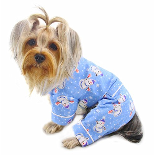 Snowman Flannel Pajamas - Klippo Dog/Puppy Snowman and Snowflake Flannel Pajamas/Bodysuit/Overall/Jumper/Romper for Small Breeds (MEDIUM)