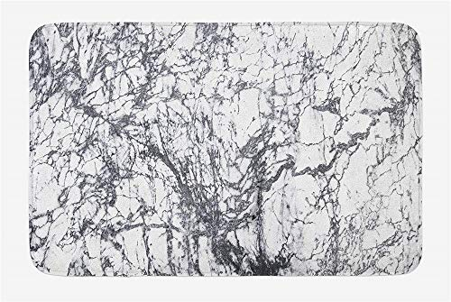 Lovestand Abstract Bath Mat, Murky Marble Rock Motifs with Dynamic Fractal Figures Abstract and Artsy Print, Plush Bathroom Decor Mat with Non Slip Backing, 30 L X 18 W Inches, ()