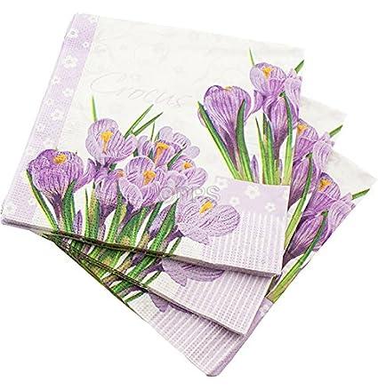 80 Servilletas de 3 capas LILA flores patrón servilletas de papel – 33 cm x 33