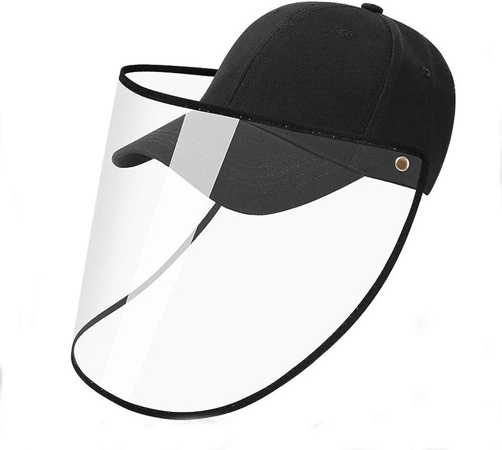 ATian Gorra de béisbol Facial de protección Completa de Seguridad Sombrero Protector de Ojos Gorra de Aislamiento Desmontable y Ajustable para Anti-Saliva, Anti-escupir y Negro de Sol