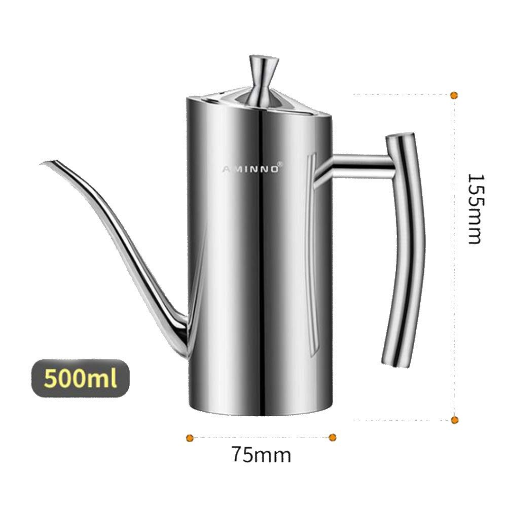 WXQ-XQ Highschool Quality Originative Leakproof Long Mouth Soy Sauce Oil Control Stainless Steel Oil Pot (Capacity : 500ml, Color : Silver) by WXQ-XQ