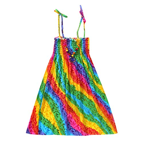 WOCACHI Toddler Baby Girls Dresses, Infant Kids Girls Baby Clothes Vestidos Floral Bohemian Beach Straps Dress Back to School Easter Egg Costume Parade Bunny Lily Eggs Roll Basket Mother's Day ()