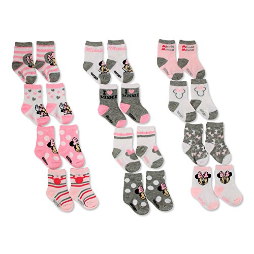 Disney Baby Girls' Minnie Mouse Assorted Color 12 Pair Socks Set, Pink, White, 0-6M