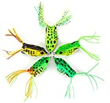 YOOYOO 5pcs Soft Frog Topwater Fishing Lure 5.5cm Crankbait Hook Bass Bait