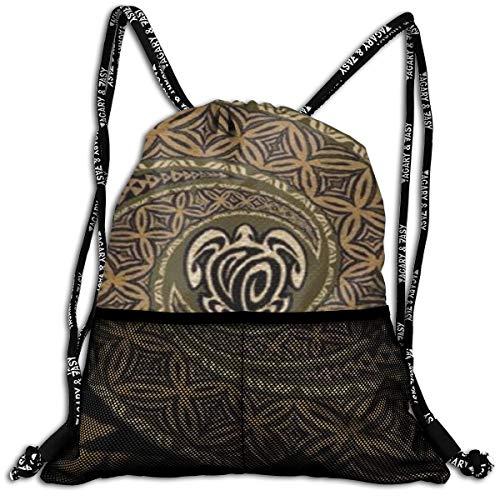 (Girls & Boys Drawstring Sack Theft Proof Lightweight Beam Backpack, Swim String Bag - Hawaiian Tapa Honu Turtle Deluxe Waterproof Backpack Soccer Basketball Bag )