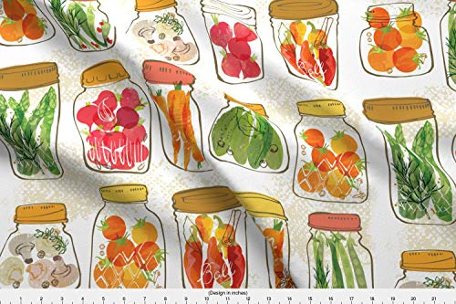 Pickles Orange Pickled - Spoonflower Kitchen Vegetables in Jars Fabric - Kitchen Food Cooking Kitchen Home Decor Vegetables Pickles Canning Harvest Thanksgiving Orange by OHN Mar Win Printed on Sport Lycra Fabric by The Yard