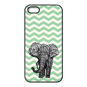 Diy Vintage Chevron Elephant Custom Cover Phone Case for iphone 5s Black Shell Phone [Pattern-6]