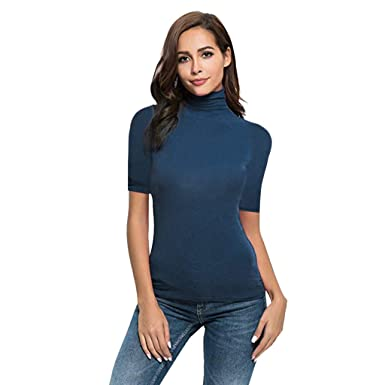 7b87778f Tunic Shirts for Women Business Plus Size Elegant Sexy Ladies Summer Short  Sleeve Letter Turtleneck Tops