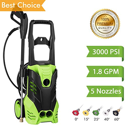 Flagup 3000 PSI Electric Pressure Washer, High Pressure Washer, Professional Washer Cleaner Machine with 5 Interchangeable Nozzles, 1800W Rolling Wheels,1.80 (1 High Wheel)