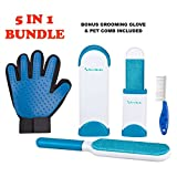 Pet Hair Remover Set, Fur & Lint Removal Brush with Self-Cleaning Base, Removes Dog & Cat Fur for Clothing, Furniture, Car Seats and More. Pet Grooming Glove & Groomer Comb Included