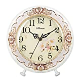 HENSE Old-school Round European Garden Living Room Decorative Desk Clocks Silent Non ticking Sweep Second Wooden Table Clock HD10 (White)