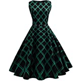 ManxiVoo Women Vintage Floral Print Dress Female Retro Hepburn Style Plaid Sleeveless Evening Party Skirt Gown (S, Green)