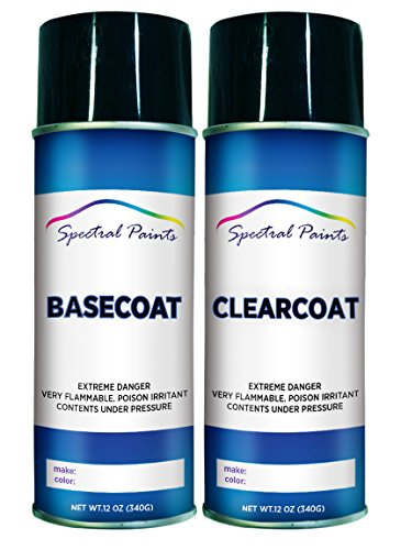 Spectral Paints Compatible/Replacement for Suzuki 92U Titanium Silver Metallic 12 oz. Aerosol Spray Paint and Clear Coat