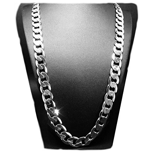 White Gold Chain Necklace 7MM 18K Diamond Cut Cuban Link With A Warranty Of A LifeTime USA Made! (24) (Links Gold White Small Chain)