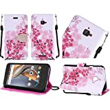 Coolpad Catalyst case, ( Metro PCS, T-Mobile ), Luckiefind® PU Leather Flip Wallet Credit Card, Stylus Pen & Screen Protector Accessory. (Wallet Sakura)