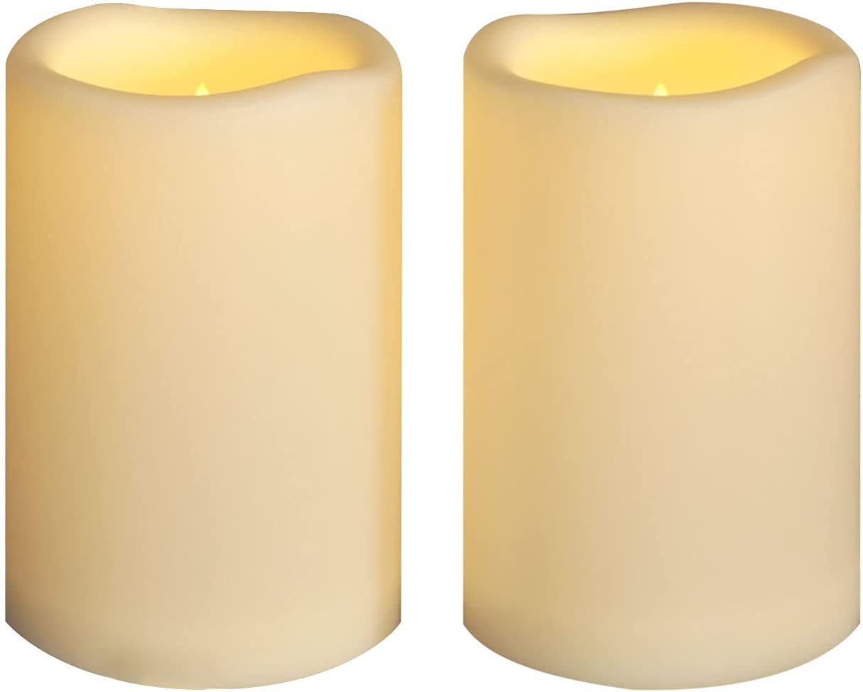 Large Flameless Candles 4'' x 6'' Outdoor Waterproof LED Battery Operated Candles Flickering Plastic Resin Pillar Candles with Timer,Electric Lights for Home Indoor Lantern Patio Garden,2 Pack,Ivory
