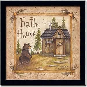 Bath house country bear art print picture for Bathroom art amazon