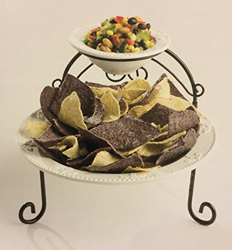 2 Tiered Serving Tray - Ceramic, Chip & Dip by Cobble Creek
