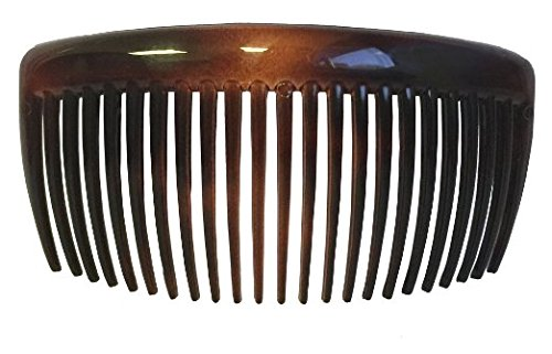 Parcelona French Large 2 Pieces Glossy Celluloid Shell Good Grip Updo 23 Teeth Hair Side Combs - 4.5 Inches by Parcelona