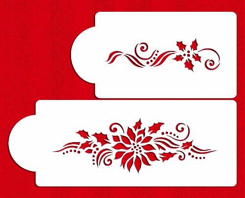 Designer Stencils C725 Poinsettia and Holly Sprays Cake Stencils, Beige/semi-transparent ()